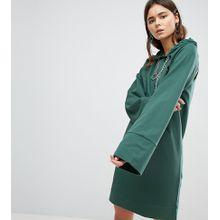 ASOS TALL – Kurzes Sweatshirt-Kleid mit Kapuze, Ketten und Zierausschnitten-Grün