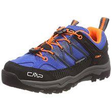 CMP Unisex-Kinder Rigel Trekking-& Wanderhalbschuhe, Blau (Zaffiro-Grey-Orange Fluo), 34 EU