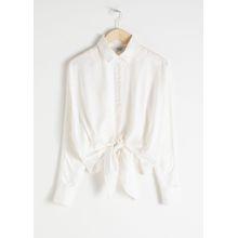 Front Tie Button Down - White