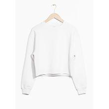 Cropped Fit Raw Edge Sweatshirt - White