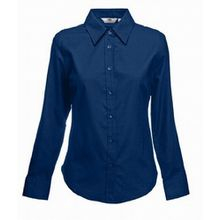 Fruite of the Loom Damen Lady Fit Langarm Oxford Bluse, vers.Farben XL,Navy Blue