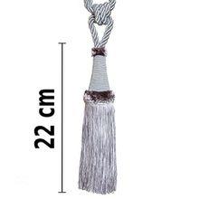 Raffhalter 65 cm /Quaste 22 cm mit Kordel Farbe Grau Silber Schmuckquaste Gardinen Vorhang Gardinenhalter Quaste Halter für Gardinen Barock Design