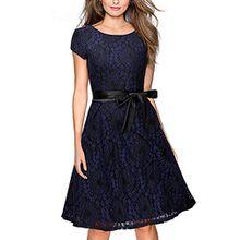 Miusol Damen ElegantBogen Guertel Hochzeit Brautjungfer Mini Spitzenkleider Abendkleider Navy Blau Gr.3XL