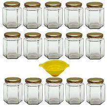 Viva Haushaltswaren 15 x kleines Einmachglas 196 ml mit goldfarbenem Deckel, sechseckige Glasdosen als Marmeladengläser, Gewürzdosen, Gastgeschenk etc. verwendbar (inkl. Trichter)