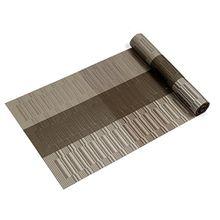 Kompatible Tischset Tischläufer, U'Artlines 1 Stück Exquisite Tischläufer für Tisch Wärmedämmung Fleckenbeständige gewebte Vinyl Tischläufer 30x180cm (Tischläufer, Braun & Grau)