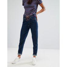 M.i.h Jeans - Gerade Vintage-Jeans mit hoher Taille und Kordelgürtel - Blau