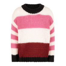 NAME IT Oversize Streifen Pullover pink / dunkelrot / weiß