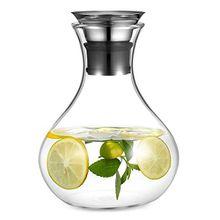 AuPower Glaskrug 1.5 Liter Glaskaraffe Wasserkrug mit Edelstahl Deckel Karaffe Glaskanne