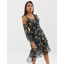 Talulah - Stormy Dawn - Asymmetrisches Kleid mit Blumenmuster - Schwarz