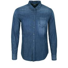 REPLAY Jeanshemd mit Brusttasche Langarmhemden blau Herren