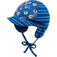 Schirmmütze zum Binden  blau Jungen Baby