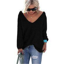 LOBTY Damen Pullover Sexy Pullover Langarm T-Shirt V Ausschnitt Lose Bluse Hemd Pullover Sweatshirt Oberteil Tops, Schwarz, Gr. XL/40
