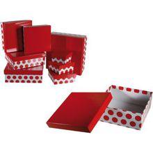 """8-tlg. Geschenkkarton Set """"Punkte"""" rot/weiß"""