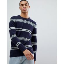 Tom Tailor - Strickpullover aus Bouclé-Wollmischung mit Streifen - Navy