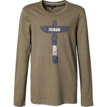 Colorado Denim Langarmshirt 'JARRY' blau / khaki / weiß