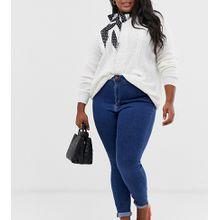 ASOS DESIGN Curve - Ridley - Enge Jeans mit hohem Bund in verwaschenem, sattem Mittelblau - Blau