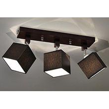 Designer Decken Leuchte Lampe Retro Spot Strahler Salon Bar Theke E27 Power LED New York 10 (Sockelfarbe: Nuss)