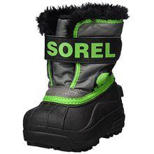 Sorel Childrens Snow Commander Unisex-Kinder Schneestiefel, Grau (Quarry/Cyber Green), 21 EU