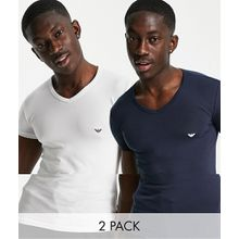 Emporio Armani - 2er Packung Lounge-T-Shirts mit V-Ausschnitt und Logo in Weiß und Marine - Mehrfarbig