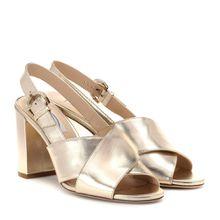 Slingback-Sandalen aus Metallic-Leder