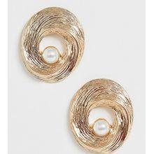 Glamorous - Goldfarbene Ohrringe mit Kunstperlen im Vintage-Design - Gold