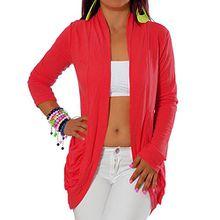 G344 Damen Longshirt Strick Cardigan Jacke Strickjacke Kleid Bluse Lang Taschen, Farben:Rot;Größen:Einheitsgröße