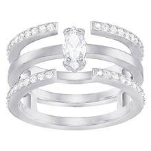 Gray Ring, mittel, weiss, rhodiniert