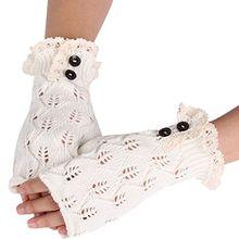 Bluelans® Armstulpen Pulswärmer fingerlos Handschuhe Damenhandschuhe Winterhandschuhe Fäustlinge Fausthandschuhe (Weiß)