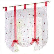 Souarts Rot Stickerei Blumen Transparent Gardine Vorhang Raffgardinen Raffrollo Deko für Wohnzimmer Schlafzimmer Studierzimmer 140x140cm