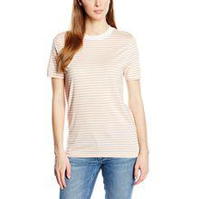 SELECTED FEMME Damen T-Shirt SFMY Perfect SS Tee - Box Cut - STRI. NOOS, Gestreift, Gr. 38 (Herstellergröße: M), Mehrfarbig (Cameo Rose)
