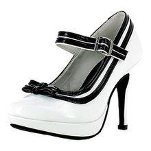 Mary Jane Damen Pumps Lack Schuhe - Weiß Schwarz Gr. 39