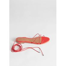 Leather Lace Up Sandals - Red