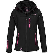Geographical Norway Damen Softshelljacke Tfila mit Kapuze- Gr. 3/L, Black