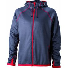 James & Nicholson Herren Jacke Fleecejacke Men's Hooded grau (carbon/red) XXX-Large