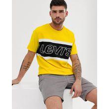 Levi's - T-Shirt in Blockfarben mit Logo auf der Brust in leuchtendem Gelb - Gelb