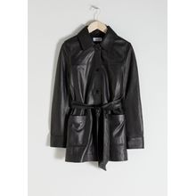 Belted Leather Trench - Black