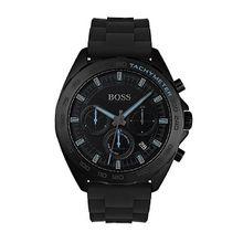 Uhr aus schwarz beschichtetem Edelstahl mit lumineszierenden Details und Silikonarmband