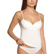 Sassa Damen T-Shirt Unterhemd BH-Shirt m. Einlage vorgeformt, Einfarbig, Gr. 90C, Weiß (Elfenbein 00314)