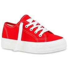 Sportliche Damen Sneakers Blumen Sneaker Low Plateau Spitze Glitzer Animal Prints Schnürer Schuhe 103494 Rot 40 Flandell