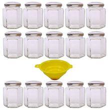 Viva Haushaltswaren 15 x kleines Einmachglas 196 ml mit silberfarbenem Deckel, sechseckige Glasdosen als Marmeladengläser, Gewürzdosen, Gastgeschenk etc. verwendbar (inkl. Trichter)