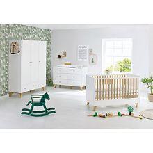 Komplett Kinderzimmer Pan, extrabreit und groß, weiß lackiert, Eiche, 70 x 140 cm