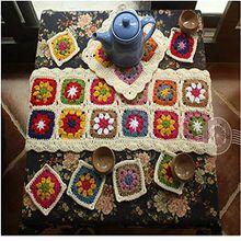 Handgefertigt Tischläufer und Untersetzer VS 8PCS Stricken Crochet Tischdecke, Weave Tischdecke Platzdeckchen Set