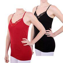 2er Pack Damen Hemd mit Spitze mit Spaghettiträger Nr. 356 Feinripp - Sehr gute Qualität ( Rot/Schwarz / 36/38 )