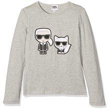 Karl Lagerfeld Mädchen T-Shirt, Grau (Grau Meliert), 6 Jahre