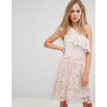 Vero Moda - Kurzes rosa Spitzenkleid mit One-Shoulder-Träger - Rosa