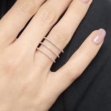 Ring Triple mit Diamanten, 18K Gelbgold