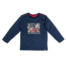 SALT AND PEPPER Jungen Langarmshirt Longsleeve Fire Uni Stick, Blau (Ink Blue Melange 481), 104 (Herstellergröße: 104/110)