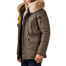 EightyFive Herren Winter-Jacke Mantel Fell-Kapuze Khaki Navy Beige Schwarz EF317, Größe:L, Farbe:Beige