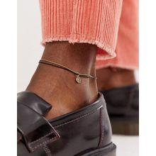 ASOS DESIGN – Fußkettchen mit Ketten- und Stoffbändern in Schwarz und Gold poliert