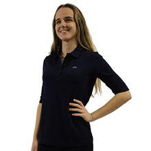 Lacoste PF0088 Klassisches Damen Polo, Polohemd, Polosshirt mit 3/4 Arm, Kurzarm. Regular Fit, für Freizeit und Sport, 100% Baumwolle Blau (Navy Blue 166), EU 42